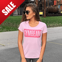 GymBeam Dámske tričko Box Logo Light Pink Pink S
