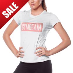 GymBeam Dámske tričko Box Logo Light White Pink M