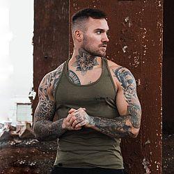 GymBeam Tielko Stringer Tank Top Heather Olive Green  XXL