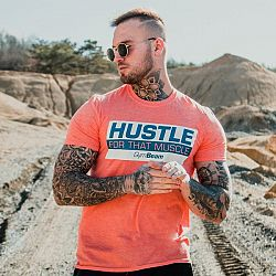 GymBeam Tričko Hustle For That Muscle Heather Orange M