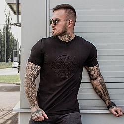 GymBeam Tričko Stay Dedicated Black Emboss L