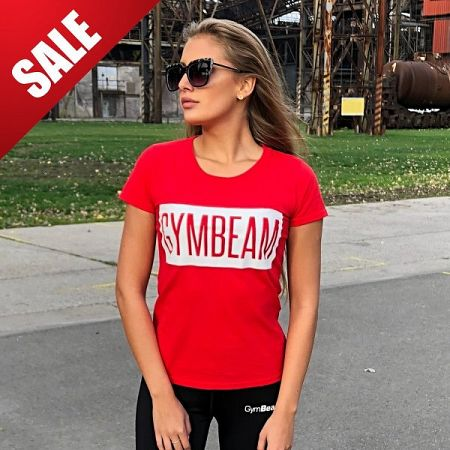 GymBeam Dámske tričko Box Logo Red White S