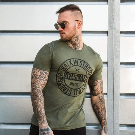 GymBeam Tričko Walk In Strong Military Green M